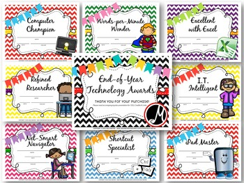 End of Year Technology Computer Awards *EDITABLE!*