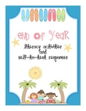 End of Year Literacy Activities and Crafts