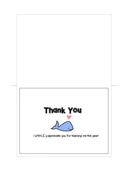 End of Year Thank You Cards for Volunteers,Teachers, Student to Teacher