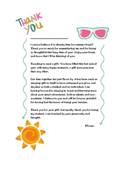 End Of Year Thank You Cards For Students From Teachers