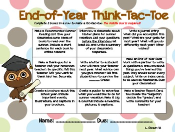 End of Year Tic Tac Toe Choice Board