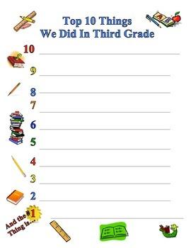 End of Year - Top Ten Things We Did in Third Grade