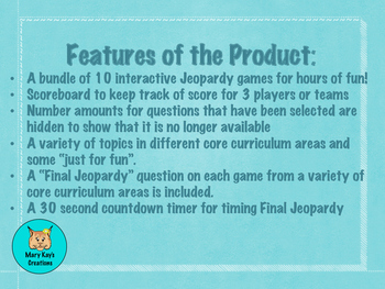 End of Year Trivia Jeopardy Tournament Bundle