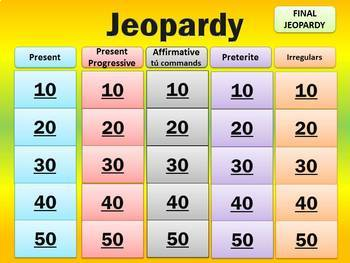 End of Year - Verb Tense Jeopardy Review of Spanish I & II