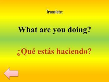 Verb Tense Jeopardy Review of Spanish I & II - Back to School
