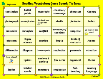End of Year: Reading Vocabulary Review Board Games 3rd-5th Grade