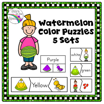 Summer Activities Color Matching Puzzles Watermelon