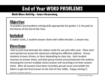 End of Year Word Problems - Math Mixer Activity - Lower Elementary