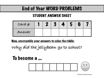 End of Year Word Problems - Math Mixer Activity - Middle School