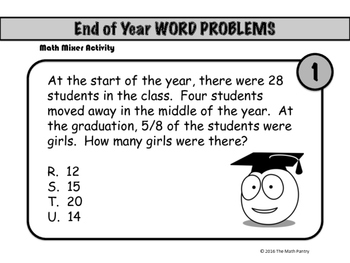 End of Year Word Problems - Math Mixer Activity - Upper Elementary