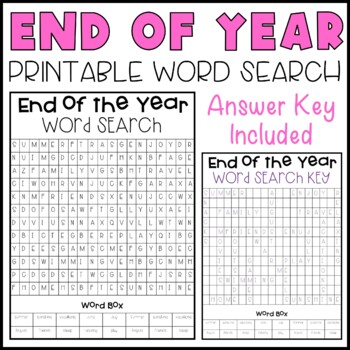 End Of Year Word Search By Hillary Kiser Hillarys Teaching Adventures