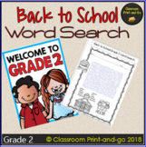 Back to School Word Search 2nd Grade