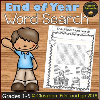 End of Year Word Search