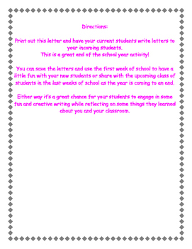 End of Year Writing Dear Future Student letter Reflection