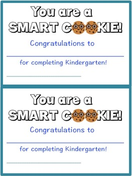 End of Year Certificate for a SMART COOKIE- Pre-K 3- 4th grade {NOW EDITABLE}