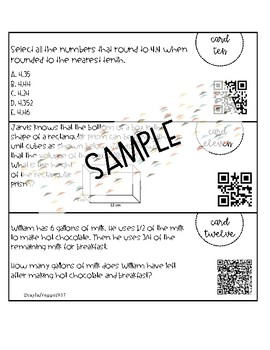 End of Year of Math Review Task Cards with QR Codes