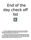 End of day check off list