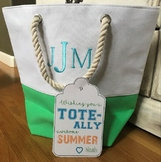 End of school year summer TOTE printable tag
