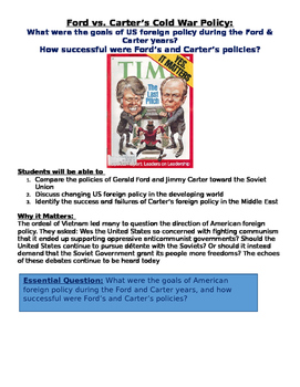 End of the Cold War: Ford Vs. Carter and Foreign Policy Lesson plans