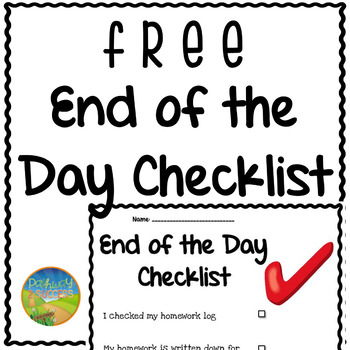 End of the Day Checklist - Free