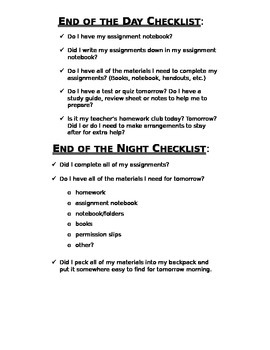 End of the Day/Night Checklist, Classroom Management
