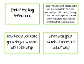 End of the Day Reflection Cards