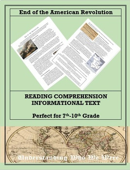 End of the American Revolution--Informational Text Worksheet
