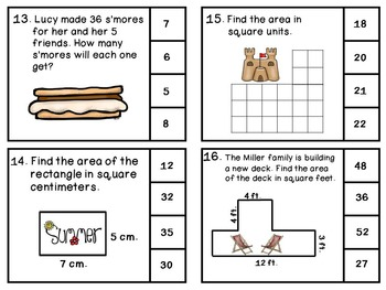 End of the School Year 3rd Grade Math Review Clip Cards - Summer Themed