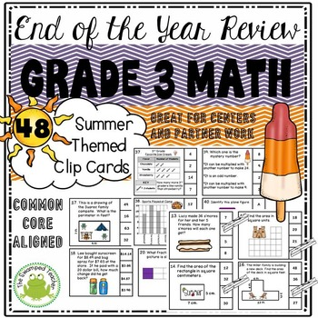 End of the School Year 3rd Grade Math Review Clip Cards -