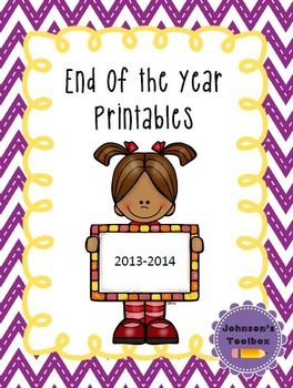 End of the School Year Activities / Printables