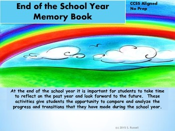 End of the School Year Memories Printables and  Activities