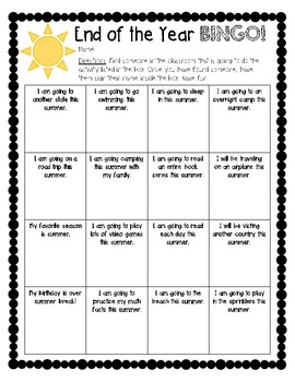End of the School Year BINGO!