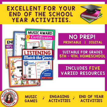 End of Year MUSIC Activities BUNDLE