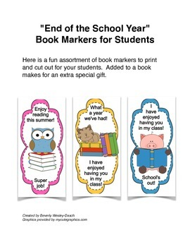 """""""End of the School Year Book Markers"""" for Students"""