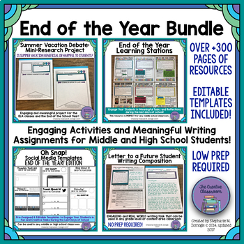 End of the School Year Bundle for Middle School Students | TpT