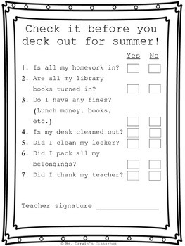 End of the School Year - Check Out Form