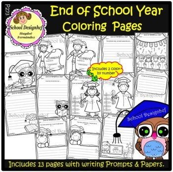 end of the school year coloring pages writing prompts papers school