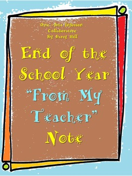 "End of the School Year ""From My Teacher"" Note"