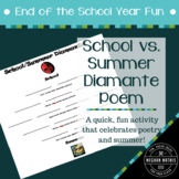 End of the School Year Fun:  School-Summer Diamante Poem