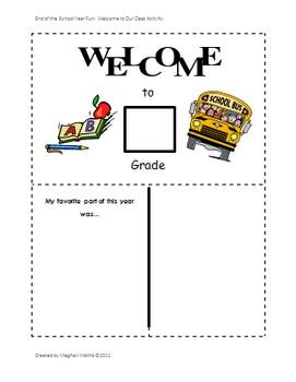 End of the School Year Fun:  Welcome to Your School Year