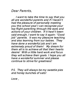 End of the School Year Good Bye Letter