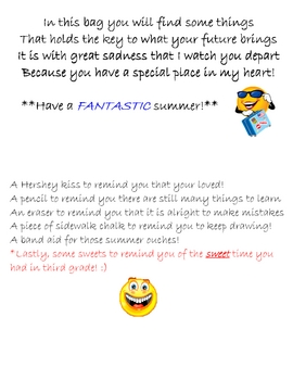 End of the School Year Note
