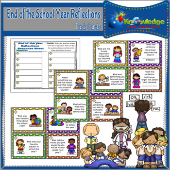 End of the School Year Reflections Task Cards