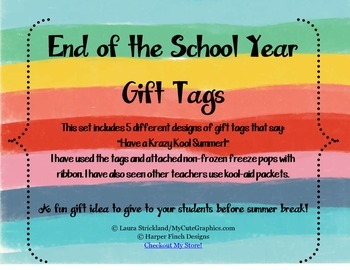 {Freebies} End of the School Year Summer Gift Tags