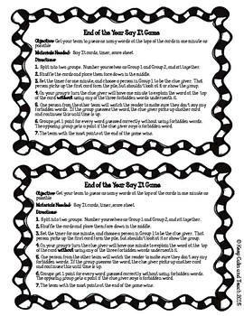 End of the School Year Taboo Game- Great for literacy centers or whole class