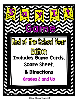 End of the School Year Taboo Game- Great for literacy cent