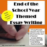 End of the School Year Theme Essay Writing, w Rubrics & Printables