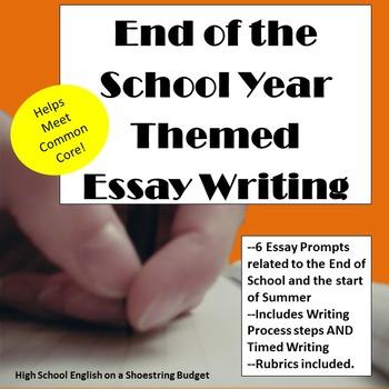 End of the School Year Theme Essay Writing, w Rubrics & Printables