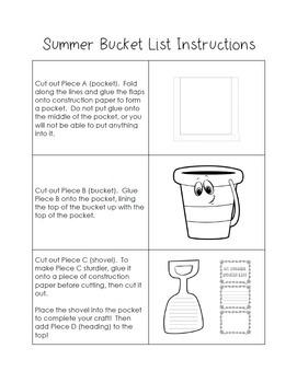 End of the School Year Writing Craft - Summer Bucket List - Seasonal Craft