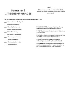 End of the Semester Citizenship Reflection Form